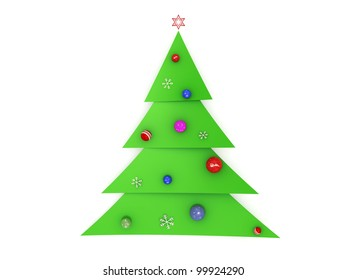 3d christmas tree made of slices with decorations