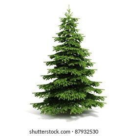 3d Christmas tree ready to decorate - on white background