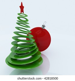3d christmas tree with red globe