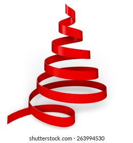 3D. Christmas, Christmas Tree, Ribbon.