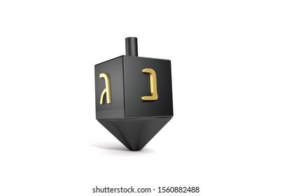 3d chrome black sevivon dreidels spinning top for hanukkah jewish holiday isolated on white