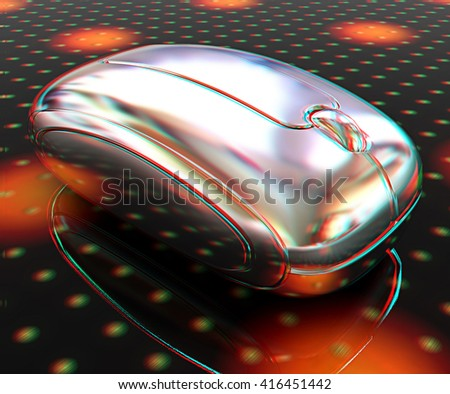 Royalty Free Stock Illustration of 3 D Chrome Mouse On