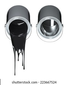 3D Chrome paint can fall black colors. Isolated