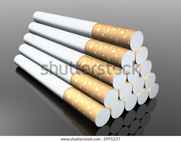 3d cigarette in black background