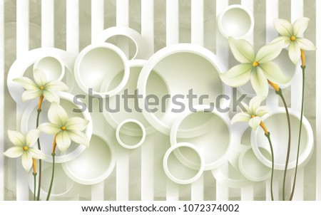3 d circle background flowers background wallpaperのイラスト素材