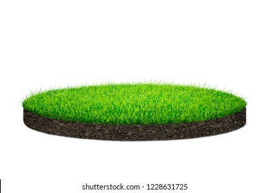 3d Circle shape of green grass field over white background