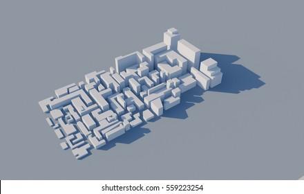 3D city area.
