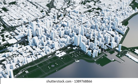 3d city map. Chicago aerial view. 3d illustration