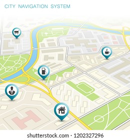 3d City map navigation route, point markers delivery van, road schema itinerary delivery car, city plan GPS navigation, itinerary destination arrow city map. Route delivery truck check point graphic