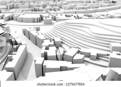 3d city master plan, construction concept view
