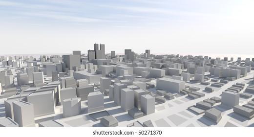 3D city panorama
