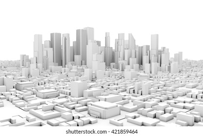 3d city panorama isolated on white background