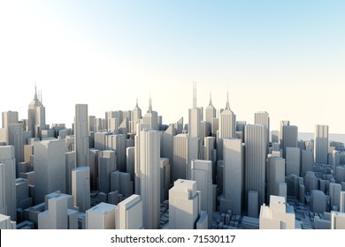 3d city in sunny day