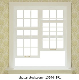 3-d classic house windows close on white background