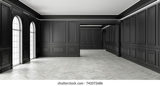 3D Classic style empty black room with parquet and classic wall pannels, big window and home interior illumination.