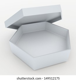 3d clean white bento boxes, sushi boxes set  packaging hexagon box and free open lids for blank template products in isolated background with clipping paths, work paths
