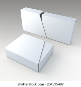 3D clean white blank box and blank slide trapezoid cover in isolated background with work paths, clipping paths included
