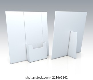 3D clean white brochure holder, desk stand in isolated background with work paths, clipping paths included