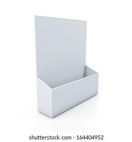 3d clean white brochure or leaflet holder in isolated background with clipping paths, work paths included