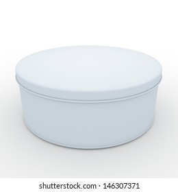 3d clean white cookies container, snack container, with cap in isolated background clipping paths, work paths included