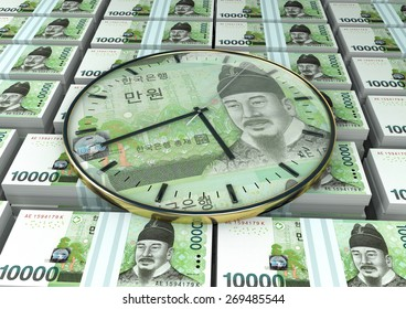 3D clock on piles and stack of South Korea money