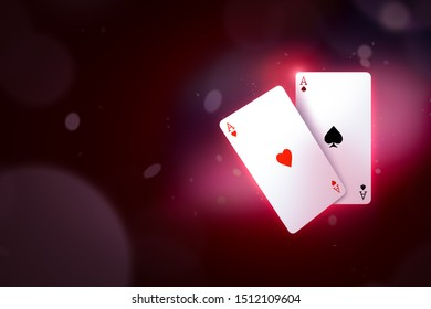 3d close-up rendering of ace of hearts and ace of spades on gradient cherry-purple bokeh background with copy space. Playing cards. Gambling business. Lure of casinos.