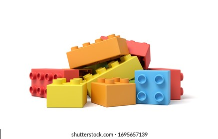 3d close-up rendering of pile of colorful toy blocks on white background. Modern toys and games. Children's development. Hobbies and leisure.