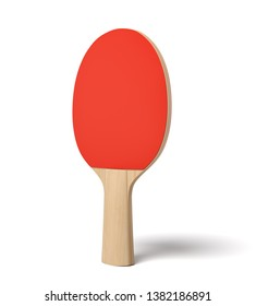 3d close-up rendering of ping pong racket with wooden handle and red rubber on white background. Sporting equipment. Ping pong tournament. Sporting goods.