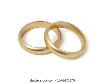 3d close-up rendering of two shiny gold rings on white background. Jewelry. Ring design. Engagement and marriage.