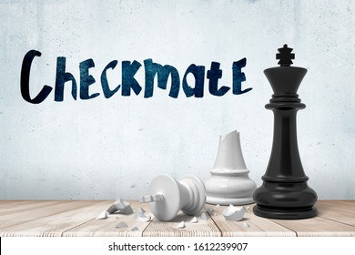 3d close-up rendering of victorious black chess king and defeated broken white king on wooden surface near wall with title 'Checkmate'. Playing chess. Planning and strategy. Political defeat.