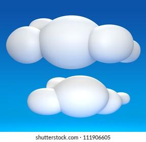 3D cloud on blue sky