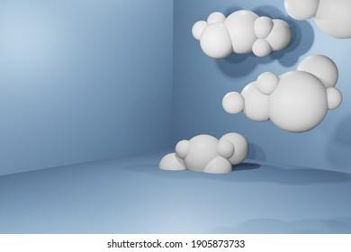 3d cloud on sky, 3D cloud in blue studio