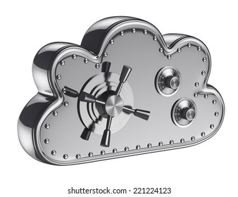 3d cloud security concept. Safe box. Isolated white background.