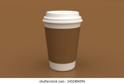 3D coffee cup on color background