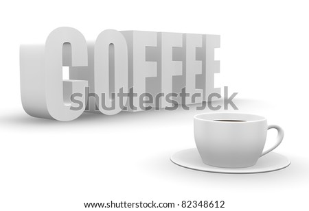3 D Coffee Word Cup Saucer Stock Illustration - Royalty Free Stock