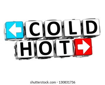3D Cold Hot Button Click Here Block Text over white background