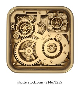 3D collection of gold objects. watch mechanism isolated on white background. High resolution