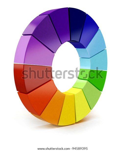 3D Color chart - isolated over a white background