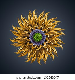 3d colorful abstract microbiological organic shape, virus macro, cyber flower or star