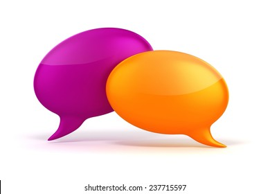 3d colorful bubble talk on white background