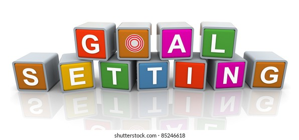 3d colorful buzzword 'goal setting'