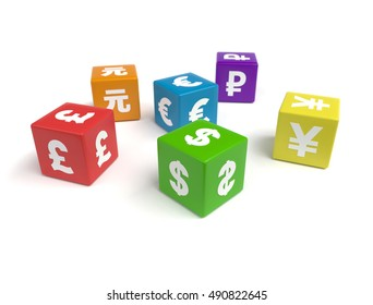 3d colorful cubes of different currencies symbols