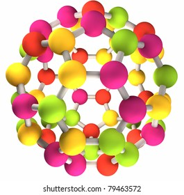 3D colorful fullerene molecular structure