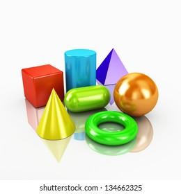 3d colorful geometric shapes primitives