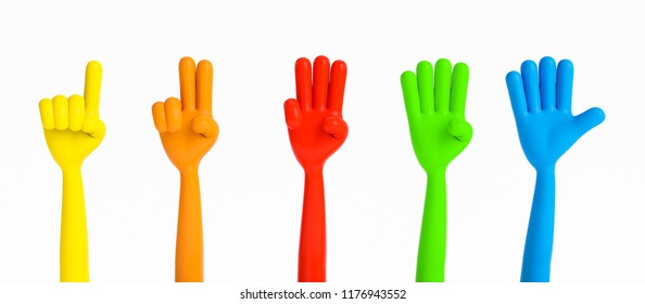 3D colorful hands counting numbers from 1 to 5. Concept children education. 3D Rendering