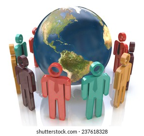3d colorful people around the globe. Concept of global communication - Elements of this image furnished by NASA