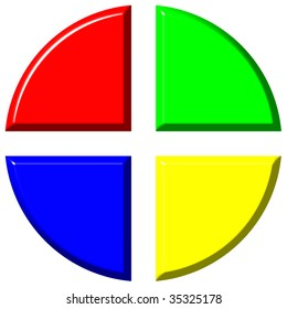 3d colorful pie chart with four equal portions