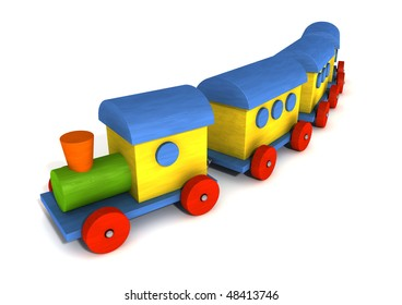 3d colorful wooden train isolated on white background