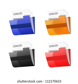 3d colorfull folders, on white background