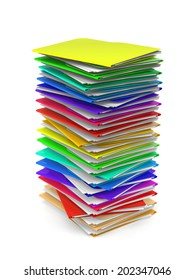 3d colorfull folders - on white background - isolated